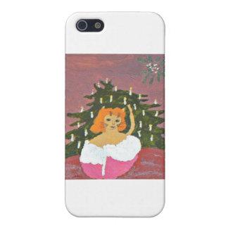 Chica del gato con el árbol de navidad iPhone 5 funda