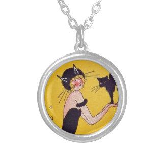 Chica del gato de Halloween y gato negro Grimpolas