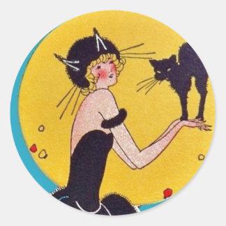 Chica del gato de Halloween y gato negro Pegatina Redonda