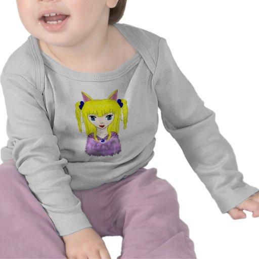 Chica del gato del animado camisetas