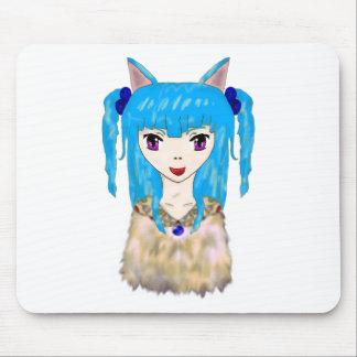 Chica del gato del animado mousepad