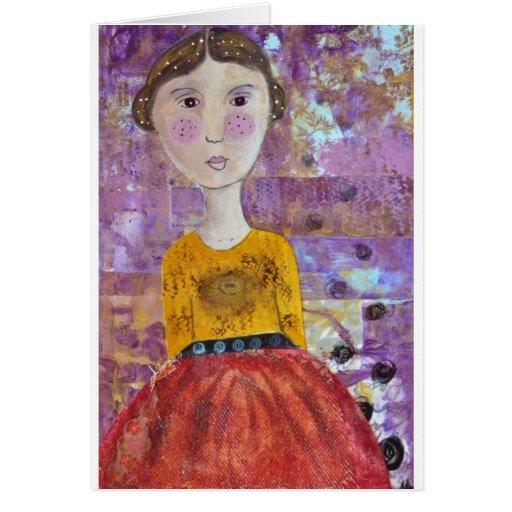 Chica del girasol tarjeta de felicitación