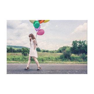 Chica del globo impresión en lienzo estirada
