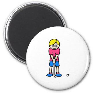 Chica del golfista imán redondo 5 cm