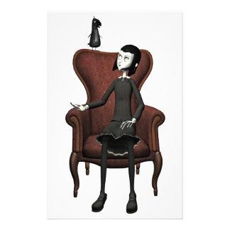 Chica del gótico con el cuervo  papeleria