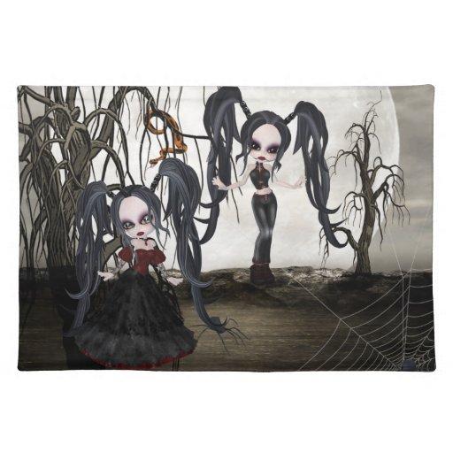 Chica del gótico de la sepia mantel