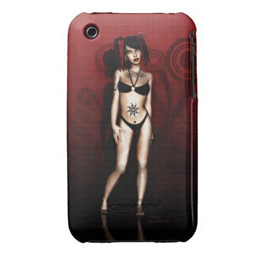 Chica del gótico del bikini de la estrella iPhone 3 protectores