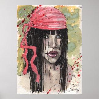 Chica del gótico en bufanda roja del marinero de G Poster