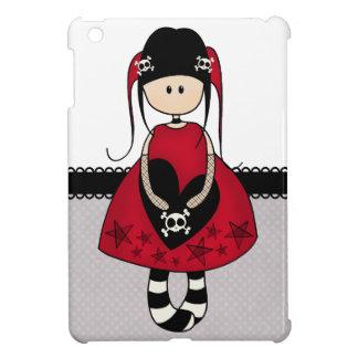 Chica del gótico en vestido rojo