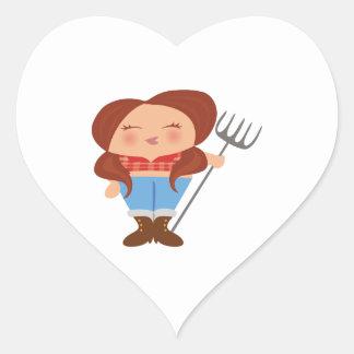 Chica del granjero colcomanias de corazon personalizadas