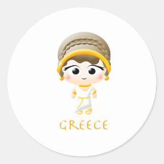 Chica del griego clásico etiquetas redondas