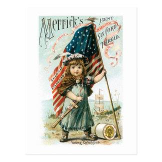 Chica del hilo de Merricks con la bandera de los E Tarjetas Postales