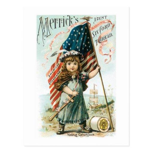 Chica del hilo de Merricks con la bandera de los Postales