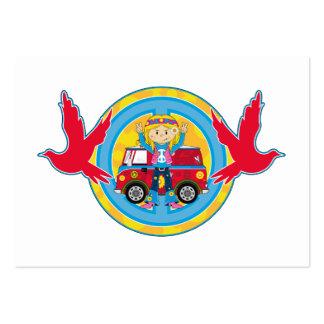 Chica del Hippie con la autocaravana y las palomas Tarjetas De Visita Grandes