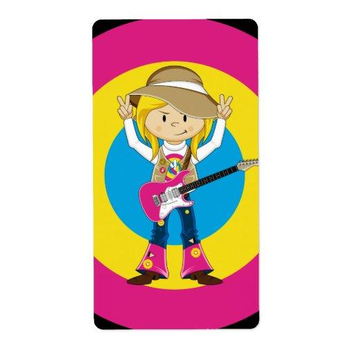 Chica del Hippie con la guitarra Etiqueta De Envío