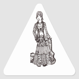 Chica del Hippie con los productos del Calcomanías Triangulos Personalizadas