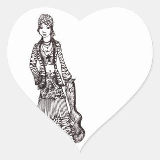 Chica del Hippie con los productos del Pegatina Corazón