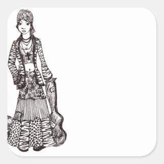 Chica del Hippie con los productos del Colcomanias Cuadradas