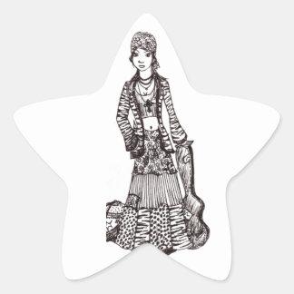 Chica del Hippie con los productos del Calcomanías Forma De Estrella Personalizadas