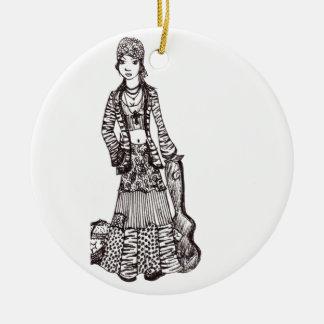 Chica del Hippie con los productos del personaliza Adornos De Navidad
