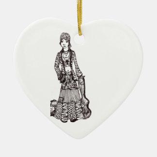 Chica del Hippie con los productos del personaliza Ornamentos Para Reyes Magos
