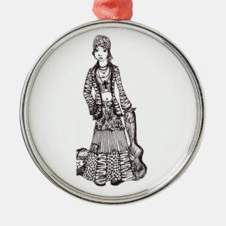 Chica del Hippie con los productos del personaliza Ornaments Para Arbol De Navidad