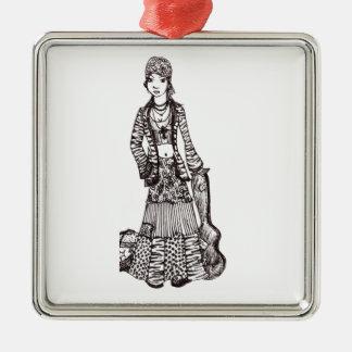 Chica del Hippie con los productos del personaliza Ornamento Para Arbol De Navidad