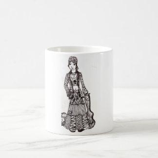 Chica del Hippie con los productos del personaliza Taza