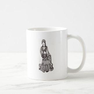 Chica del Hippie con los productos del personaliza Tazas De Café