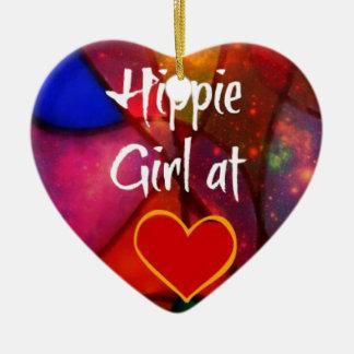 Chica del Hippie Adorno De Cerámica En Forma De Corazón
