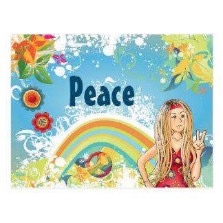 Chica del Hippie, flores y paz rubios del arco Tarjeta Postal