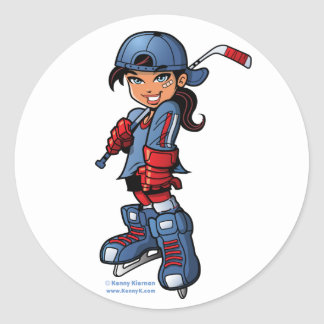 "Chica del hockey 3"" pegatinas redondos pegatinas redondas"