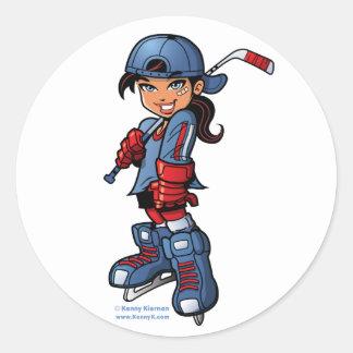 """Chica del hockey 3"""" pegatinas redondos pegatina redonda"""