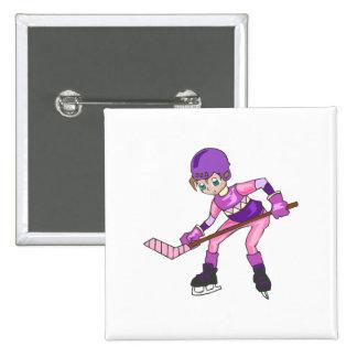 Chica del hockey del animado pin cuadrada 5 cm