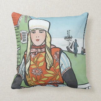 Chica del holandés del vintage cojín