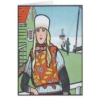 Chica del holandés del vintage tarjeta de felicitación