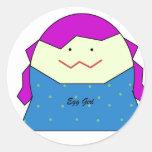 Chica del huevo de la diva pegatina redonda