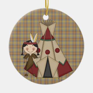 Chica del indio del nativo americano de la adorno navideño redondo de cerámica