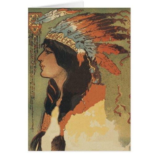 Chica del indio del vintage tarjeta de felicitación