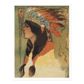Chica del indio del vintage postal