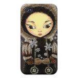 Chica del Inuit - hada del copo de nieve iPhone 4 Funda