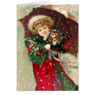 Chica del invierno de Maud Humphrey con el perro Felicitación