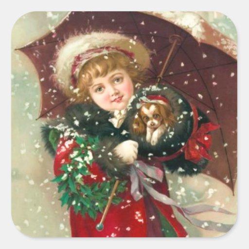 Chica del invierno de Maud Humphrey con el perro Calcomanias Cuadradas