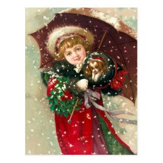 Chica del invierno de Maud Humphrey con el perro Postal
