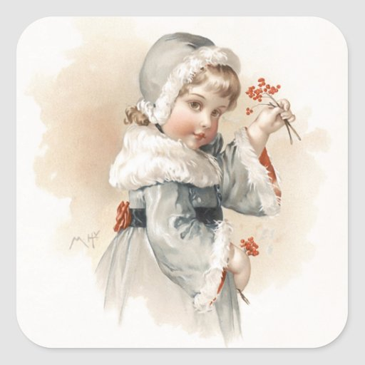 Chica del invierno de Maud Humphrey Pegatina
