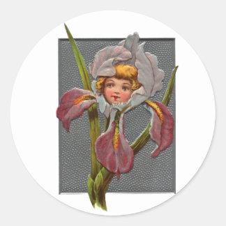 Chica del iris del vintage etiqueta