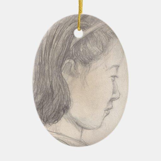 chica del japonés del bosquejo adorno navideño ovalado de cerámica