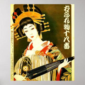 chica del japonés del estilo del vintage poster