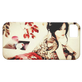 Chica del japonés del vintage funda para iPhone 5 barely there
