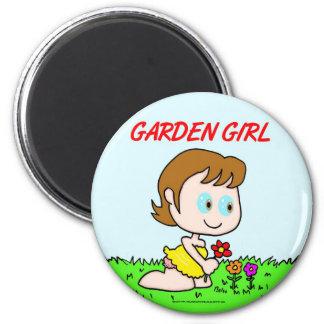 Chica del jardín imán redondo 5 cm